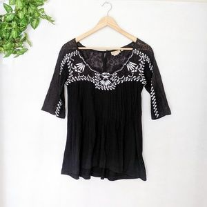 Anthro Vanessa Virginia Black Lace Embroidered Top